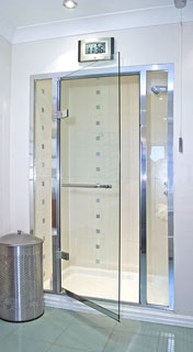 swing shower door with sidelights