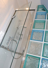 shower stall with glass block enclosure