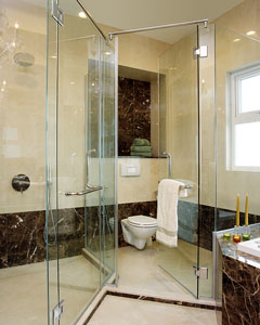 frameless glass shower panels